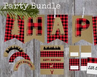 Buffalo Plaid Birthday Party Bundle