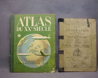 Set of 2 Atlas geographical ancients/1888 and 1950
