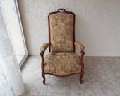 Old Voltaire armchair Louis XV-wood and upholstery style first half of the twentieth century