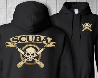 Scuba Skull Mens Funny Hoodie Dive Diving Diver Mask Top Deep Sea Equipment