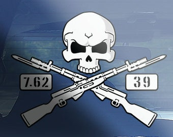 4dc5402a SKS-45 rifle skull crossbones decal sticker, sks rifle decal sticker,  collectors sks-45 military rifle decal, 7.62x39 rifle decal sticker