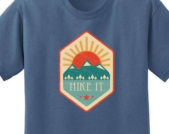 Hike it T-shirt - vintage style mountain hikers shirt, mt trail hiking t shirt, retro hiking shirt, outdoor hiker shirt