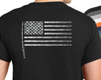 USA Samurai Flag T-Shirt, American samurai shirt, samurai shirt, samurai sword shirt, katana shirt, bushido shirt.