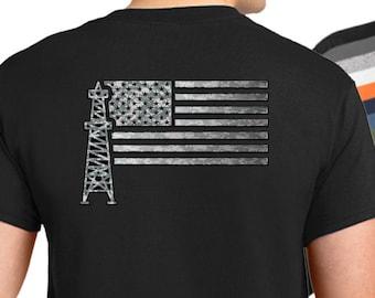 90976a09 USA Oilfield Worker Flag T-Shirt, American flag oil worker shirt, oilfield  worker shirt, camouflage oilfield worker shirt
