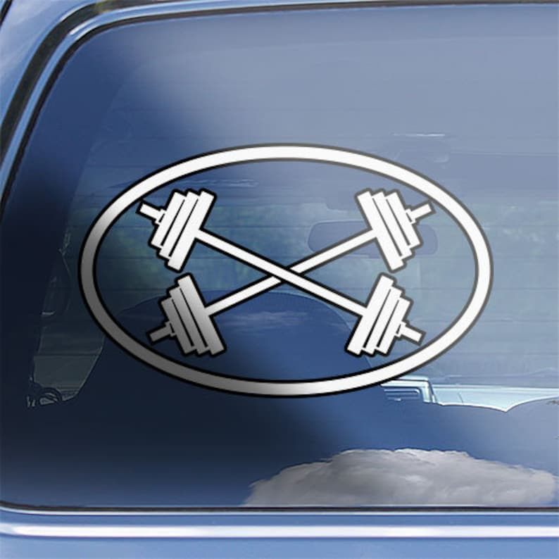 Choose Size /& Color Skull With Crossed Barbells Vinyl Sticker Decal Weights