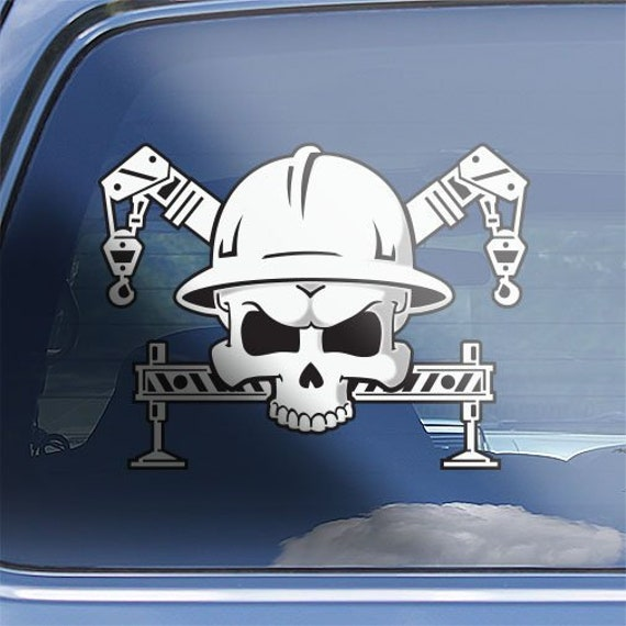 Forklift driver crossbones decal heavy forklift operator skull badge sticker