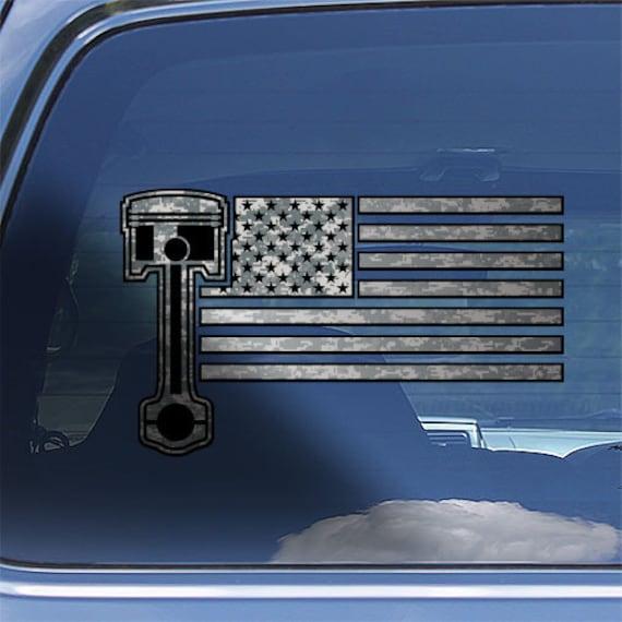 "/""AMERICAN MUSCLE/"" Car American Flag and piston wall window decal die cut vinyl"
