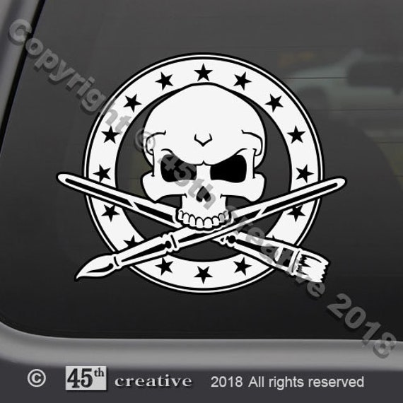 House painter crossbones decal pro painting painters skull badge sticker
