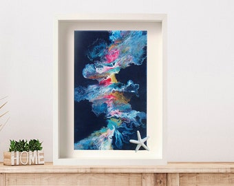 Indigo wall hanging, natural turquoise abstract painting, vibrant colorful, acrylic pour, mindfulness gift