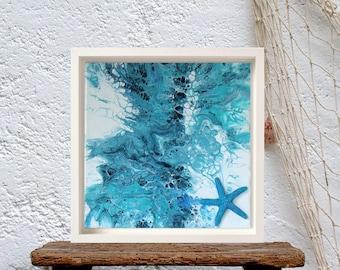 Blue starfish seaside decor, Abstract dutch painting, Starfish on canvas wall art, new beach house decor