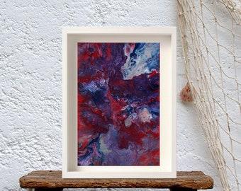 Original abstract maroon painting, Acrylic on canvas, Maroon white gray abstract, Acrylic Contemporary Framed Art