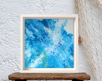 Original beach artwork blue painting, Paint pour art, Beach lovers gift, Lake house decor
