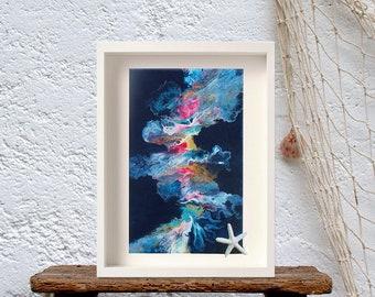 Blue giclee abstract canvas, Ocean wall art zen wall art, Abstract dutch painting, Bright colours art, Home decore