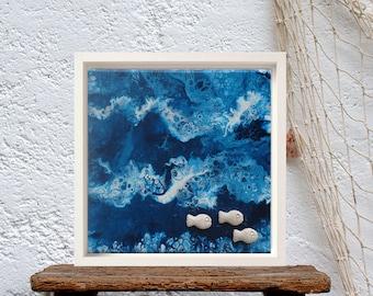 Ocean abstract wall art, Fluid art painting canvas original, Sea inspired decor, Teal blue wall decor, Aqua abstract canvas, Navy artwork