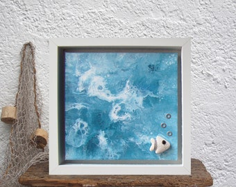 Abstract acrylic painting sea, 3D wall art turquoise, Sea inspired decor, Blue house painting, Dutch pour art