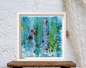 Pour painting on canvas, Fluid cell art, Beach art creations, Calming wall art, surf decor, acrilic pouring