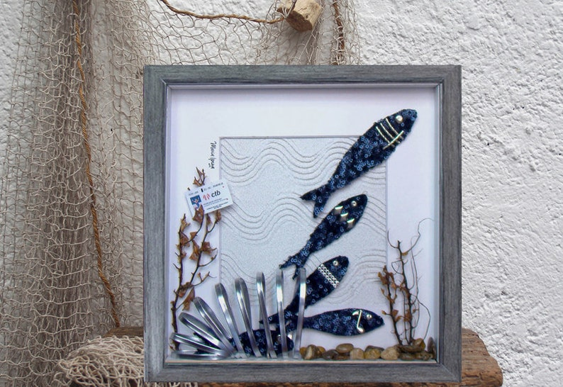 Fish Shoal design Lovely Unique wall Fish painting Sea image 0