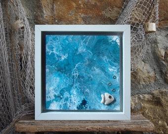 Dutch painting, Stormy ocean, Surf wall decor, Abstract art sea, Fluid art painting canvas original, Blue gorgeousness