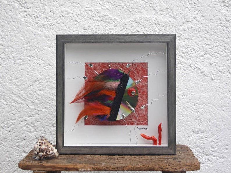 Beach themed decor and original Fish collage art . A cool image 0