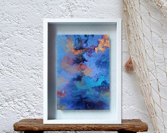 Dutch pour painting, Colorful acrylic canvas art, Marble wall decor, Teal abstract painting on canvas