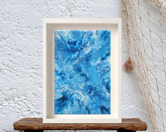 Ocean marble effect, Blue fluid painting, Modern navy artwork, Contemporary Home Decor, Abstract marble art
