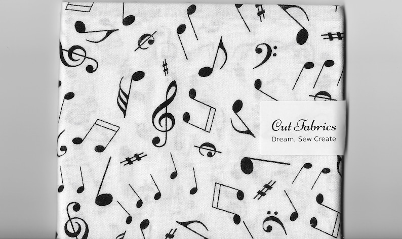 Cotton Fabric Fat Quarter quilting music musical notes  black
