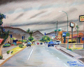 south phoenix central ave. chalk pastel drawing for download. print ready.