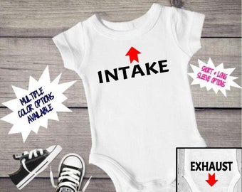 0c2eb5344 Intake and Exhaust, funny baby clothes, Intake Exhaust, Funny Baby bodysuit,  Funny baby, Steel and Satin Decor, Toddler clothes, Bodysuits