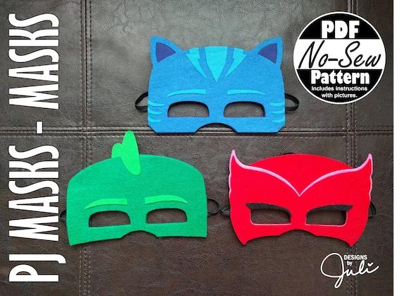 pj masks no sew mask patterns catboy gekko owlette etsy