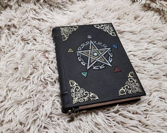 Leather handmade grimoire spell book book of shadows natural moon stone!