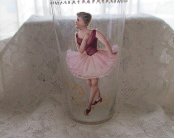 Moser Style Art, Enamel Painting, Juice Glass, Ballerina, Pink Tutu, Art Glass, Juice Glass, Collectable Glassware, Mother's Day Gift