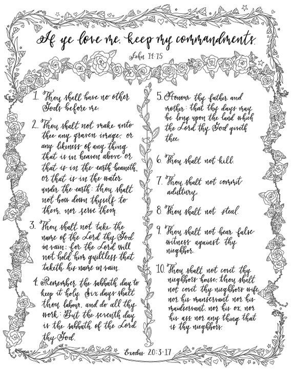Printable Coloring Pages The Ten Commandments Etsy