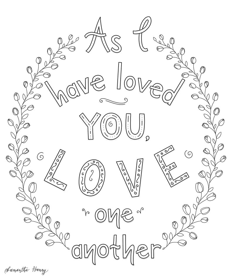 Printable Coloring Pages- Love One Another