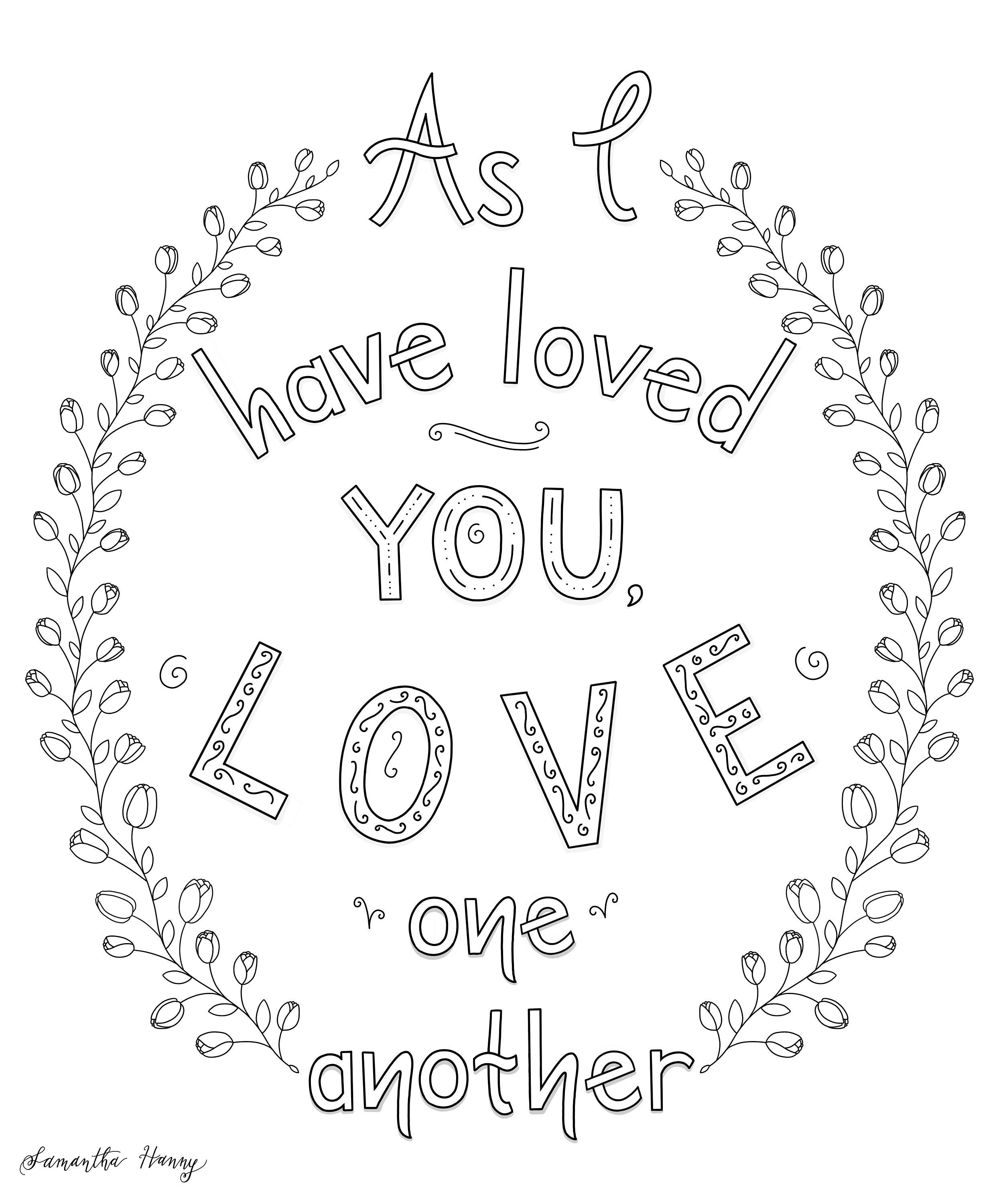 Printable Coloring Pages Love One Another | Etsy