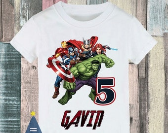 Avengers Iron Man Captain America Hulk Thor Black Widow Superhero Custom Birthday Party T Shirt
