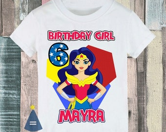98e4bf70 Wonder Woman Superhero Girl Custom Birthday Party T-shirt - personalized  with name and age