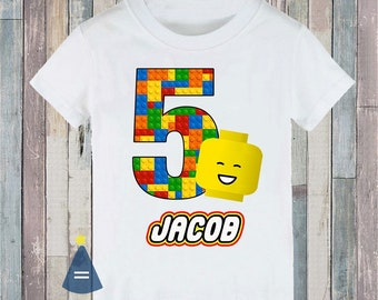 Bricks Building Blocks Head Custom Birthday Party T Shirt