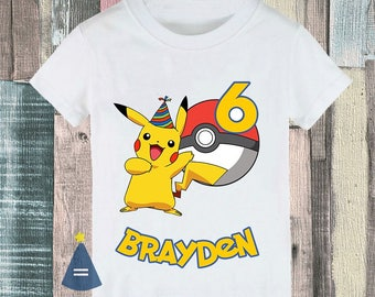 4e2c173f62fd4 Pikachu Pokemon Custom Birthday Party T-shirt - personalized with name and  age