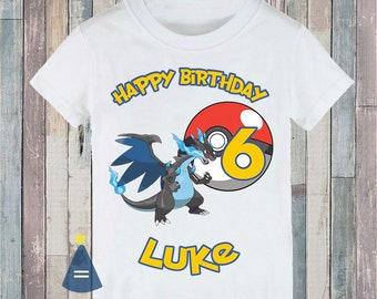 8a591a98 Mega Charizard X blue Pokemon Custom Birthday Party T-shirt - personalized  with name and age