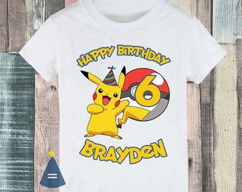 Pikachu Pokemon Custom Birthday Party T-shirt - personalized with name and age