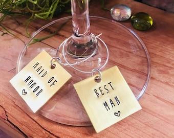 Brass Wine Charm, Personalized Wine Charm, Custom Wine Tag, Custom Wedding Decor, Wedding Reception Table Decor, Custom Party Decor