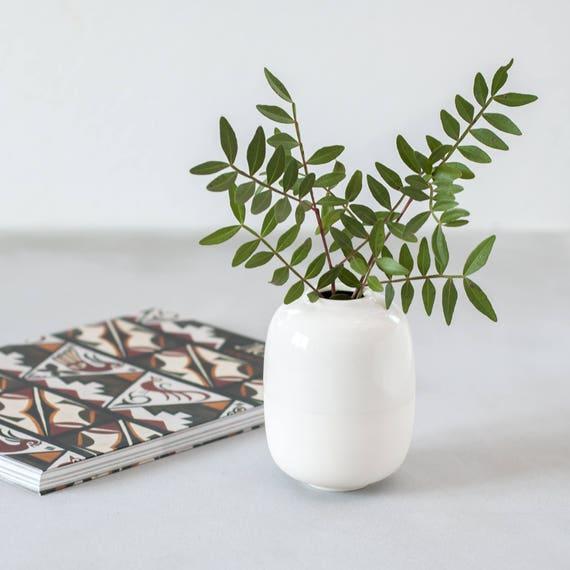 Small White Vase Minimalist Decor Porcelain Bud Vase White Etsy