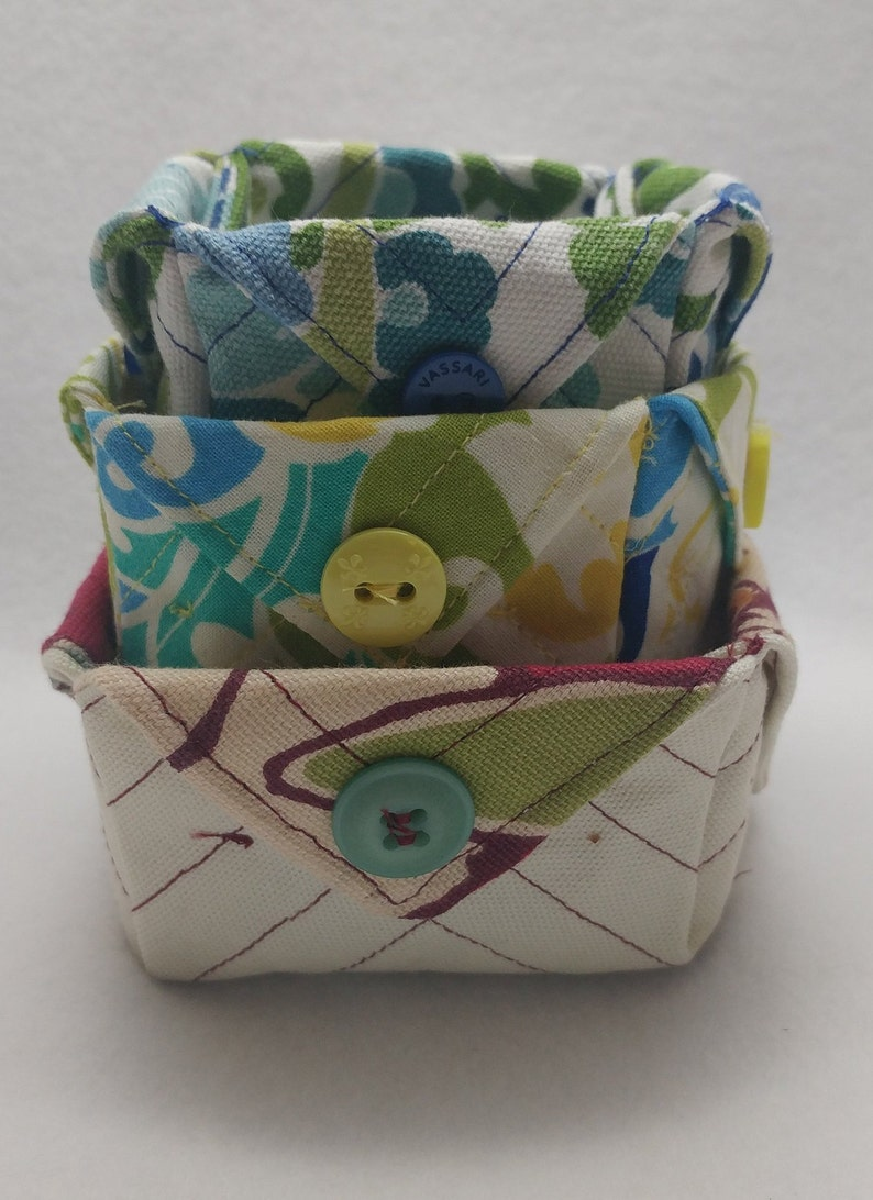 Fabric Storage Containers//Boxes//Handmade//Set Of 3