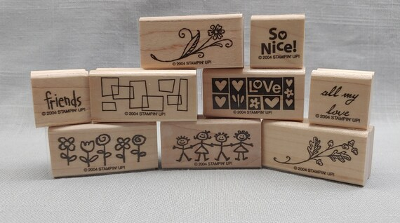 Smorgasborders  Stampin\u2019 Up set of 9 wood mounted rubber stamps