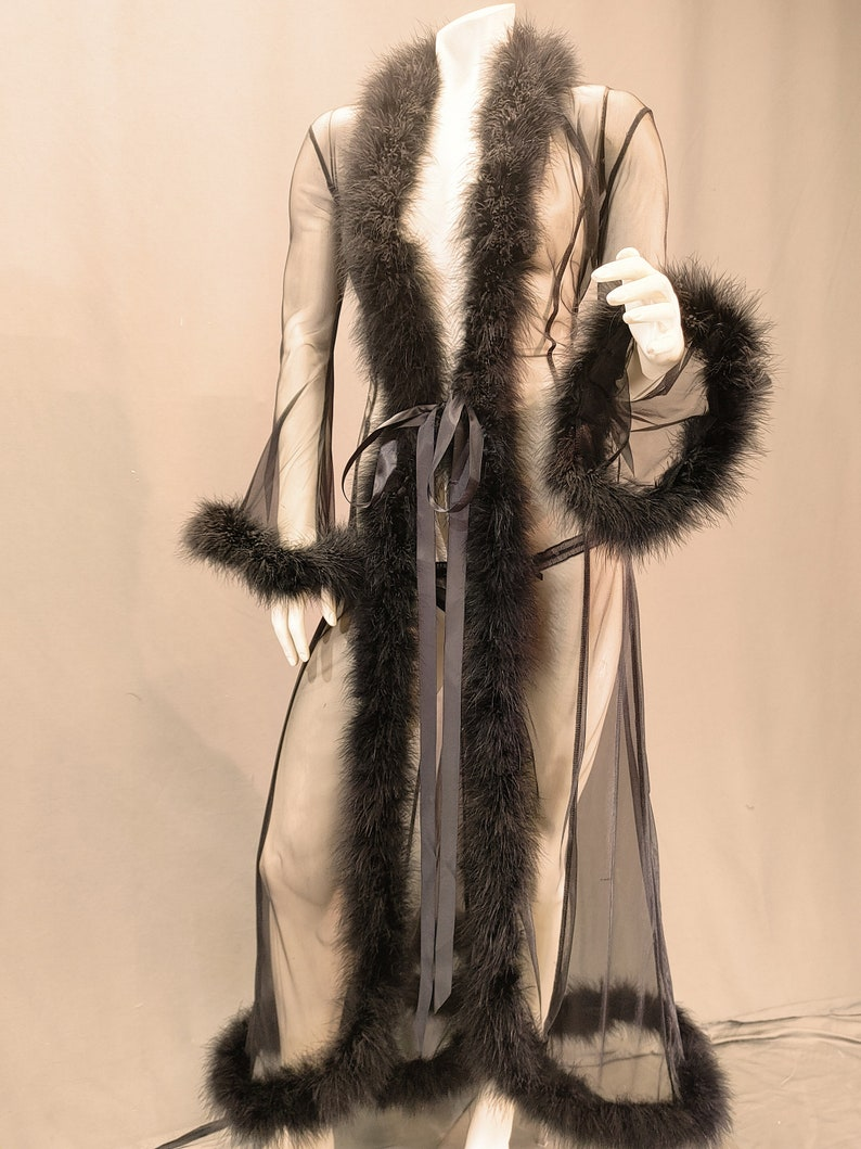 1960s – 1970s Lingerie & Nightgowns Marabou Feather Sheer Robe Nightgown $99.00 AT vintagedancer.com