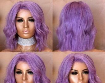 Gorgeous 100% Human Hair, Lavender Bob, Lace Wig