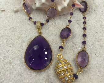 Amethyst and 24k bezel chain with Amethyst Pendant