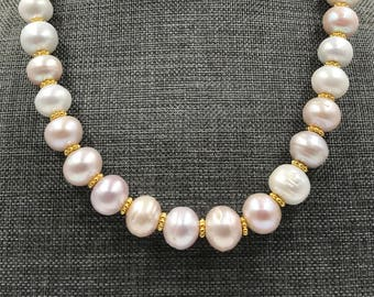 12mm luminous pearl necklace with gold spacers