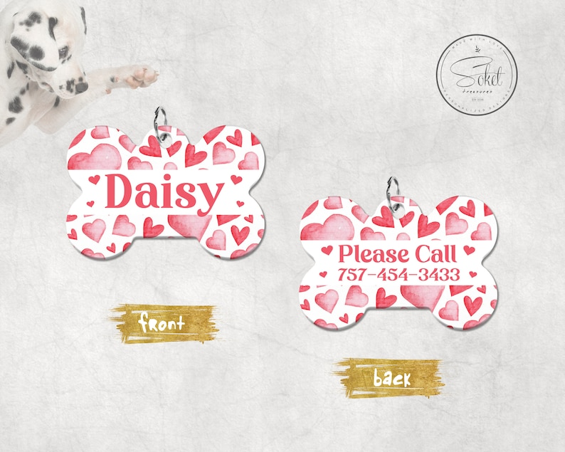 Pet Tag Valentine Red Pet id Tag Personalized Dog Tag Double Sided Pet Id Heart Pattern Pet Tag Custom Dog ID Tag Dog Name Tag