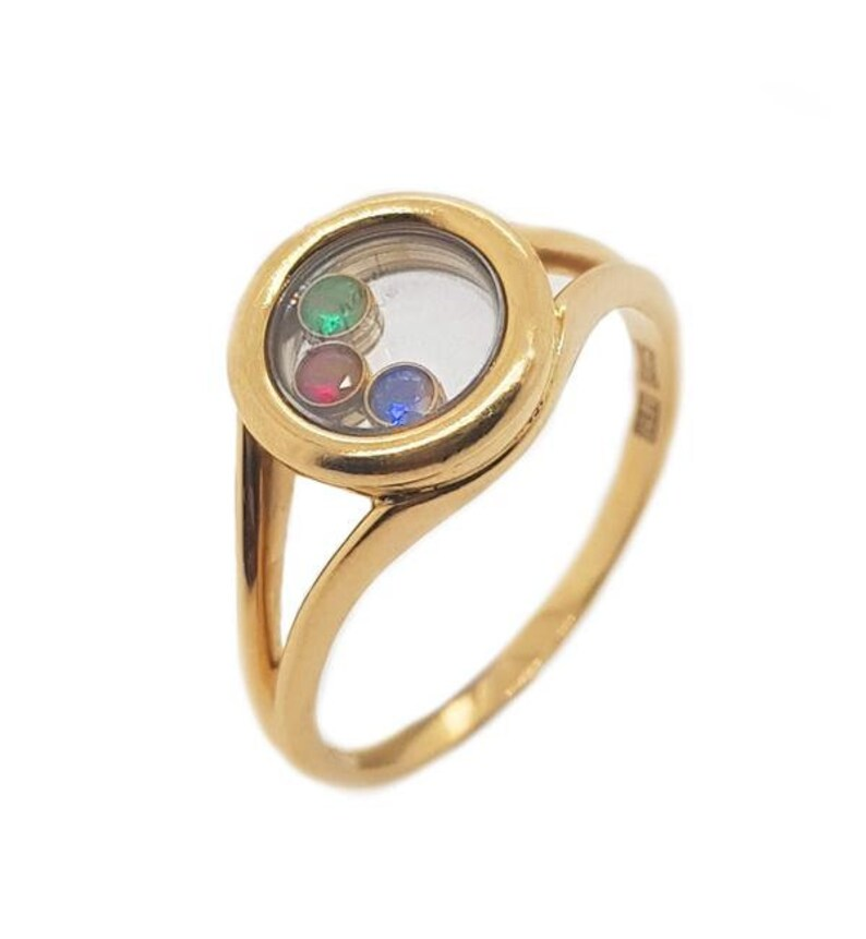 ea461b29858 18K Yellow Gold Chopard Happy Diamonds Emerald Ruby Sapphire